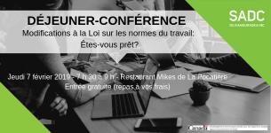 7 février 2019 – Déjeuner-conférence sur les modifications à la Loi sur les normes du travail