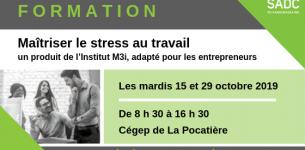 15 et 29 octobre 2019 – FORMATION – Maîtriser le stress au travail