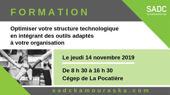 14 novembre 2019 – FORMATION Optimiser votre structure technologique en intégrant des outils adaptés à votre organisation
