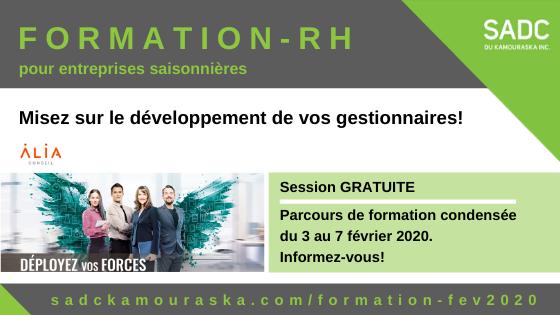 3 au 7 février 2020 – PARCOURS DE FORMATION pour les entreprises saisonnières du Kamouraska