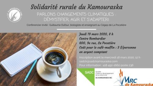 19 mars 2020 – Parlons changements climatiques: démystifier, agir et s'adapter!